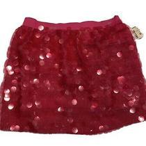 Aeropostale Lined Pink Mini Skirt Sz Medium Clear Sequins Elastic Waist Nwt Photo