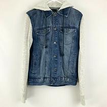 Aeropostale Long Sleeve Dark Wash Jean Jacket With Hoodie Size Small Photo