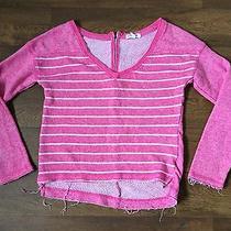 Aeropostale Medium Pink Striped v Neck Sweatshirt Photo