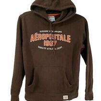 Aeropostale Men Hooded Pullover Sweatshirt Jacket Brown Size Small Photo