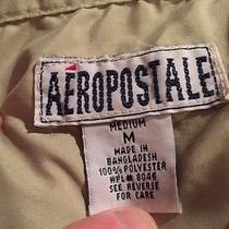 Aeropostale Men Medium Dress Shirt Green With Navy Design 100%Polyester Photo