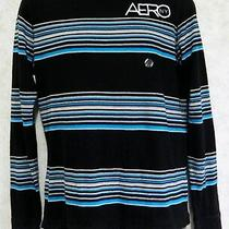 Aeropostale Men's Long Sleeve Knit Pull Over Size Small Cotton Black Blue Nwt Photo