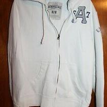 Aeropostale Men's Medium Zip-Up Hoodie Sweatshirt (White/gray) Euc Photo