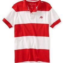 Aeropostale Mens A87 Stripe Rugby Polo Shirt Red Medium Photo