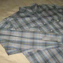 Aeropostale Mens Large Long Sleeve Blue White Yellow Plaid Shirt 100% Cotton Photo