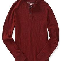 Aeropostale Mens Long Sleeve Solid Henley Shirt Photo