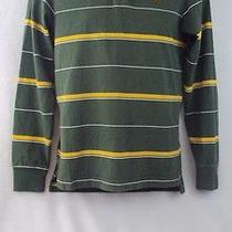 Aeropostale  Mens Medium Slim Fit Green Yellow Stripes Shirt Top Long Sleeves I1 Photo