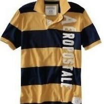 Aeropostale Mens Polo Shirt Short Sleeve Yellow Blue Aero Size Extra Large Xl Photo