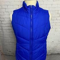 Aeropostale Mens Puffer Vest Size Large Blue Pockets Zip Up Warmest Photo