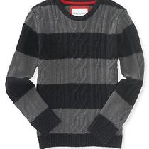 Aeropostale Mens Striped Cable Crew Sweater Photo