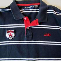 Aeropostale Polo Golf Cotton S/s Shirt Men's L Navy W/ White Stripes Photo