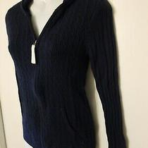 Aeropostale Prince & Fox Womens Navy Blue Zip Front Hoodie Sweater Size Large Jr Photo
