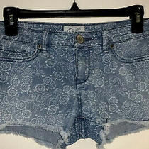 Aeropostale Printed Denim Low-Rise 5-Pocket Shorts Womens Size 26 Photo