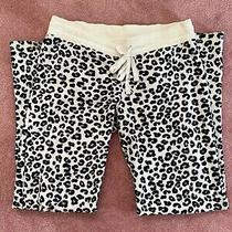 Aeropostale Purple Black White Leopard Print Fleece Pajama Pants Size S Photo