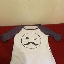 Aeropostale Purple/white Mustache Smiley Face Raglan Baseball Tee Size M Photo