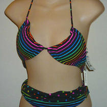 Aeropostale Reversible Mini Dot Black Bikini Swimsuit Size Xs Nwt 9113-1 Photo