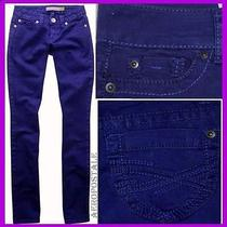 Aeropostale Royal Blue Straight Slim Smooth Bayla Jeans Pants Women Size 0 2728 Photo