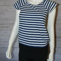 Aeropostale S Sunflower Striped Blue White Floral Short Sleeve Open Back Top Photo