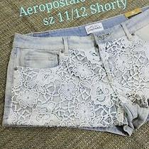Aeropostale Shorts 11/12 Shorty Light Wash Blue Crochet Women 12 /junior Size 11 Photo
