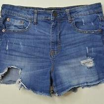 Aeropostale Size 10 Womens High Waist Midi Cut Off Destroyed Blue Jean Shorts Photo