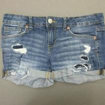 Aeropostale Size 4 Womens Blue Denim Cuffed Distressed Midi Jean Shorts 077 Photo