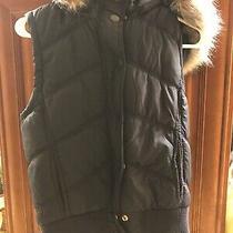 Aeropostale Size M Dark/navy Puffer Vest Faux Fur Trim Detachable Hood Photo
