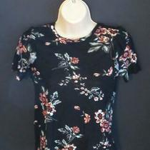Aeropostale Size Xs Black With Multi-Color Floral Ruffled Short Sleeve Top Photo