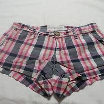 Aeropostale Stretch Pink/blue Plaid Shorts  Size 00 Photo