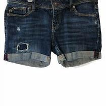 Aeropostale Summer Jean Shorts Midi Blue Medium Wash Cuffed Destroyed Sz 5 / 6 Photo