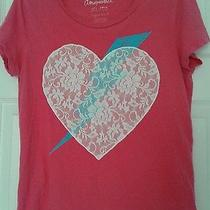 Aeropostale T Shirt Hot Pink Lace Heart W/ Blue Lightning Bolt Xl Euc Photo