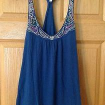 Aeropostale Tank Top Bling Blue With Stitched Pattern Large Gently Worn Photo