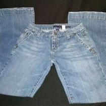 Aeropostale Trouser Fit Size 1/2 Small Lighter Wash Button Back Pockets Photo