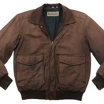 Aeropostale Vintage Distressed Leather Motorcycle Bomber Jacket Coat Mens M Photo