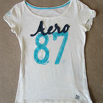 Aeropostale White Graphic Tee Shirt Size L Photo