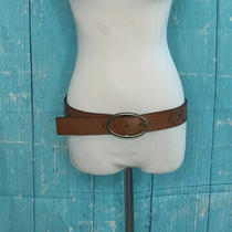 Aeropostale Women Embellished Sunburst Brown Leather Belt Size Medium Photo