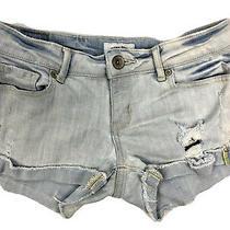 Aeropostale Women Juniors Blue Jean Shorts Size 1 / 2 Distressed Rolled Cuff Photo