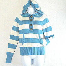Aeropostale Women's Blue Striped Cotton Blend Hoodie Pullover Henley Size Medium Photo