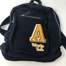 Aeropostale Women's Canvas Backpack Bookbag Navy Logo Pockets Cinch New Photo