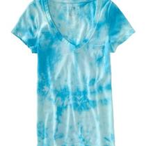 Aeropostale Women's Clouded Pocket T-Shirt - Blue Du Aqua-S Photo