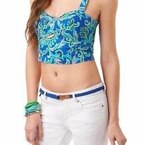 Aeropostale Women's Corset Tank Top Crisscross Strap Cropped Paisley Blue Sz L Photo