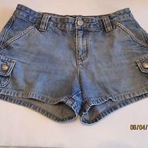 Aeropostale Women's Denim Blue Jean Shorts Sz 1/2 Front Leg & Back Button Pocket Photo