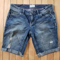Aeropostale Womens Juniors Bermuda Shorts Sz 5/6 Blue Denim 5 Pocket Distressed Photo