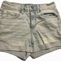 Aeropostale Womens Shorts High Waisted Midi Short Blue Denim Size 0 Great Shape Photo