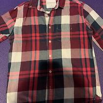 Aeropostale Womens Size Small Blue Burgundy Off White Plaid Button Down Shirt Photo
