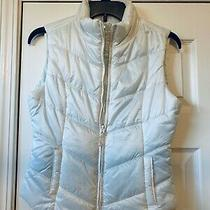 Aeropostale Women's Size Xs White  Sleeveless Puffer Vest Jacket Aqua Blue Liner Photo
