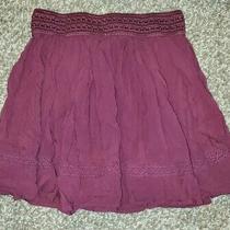 Aeropostale Women's Skirt Size S Small Maroon Crochet Knit Mini Skater Skirt Photo