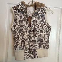 Aeropostale Womens Small Down Filled Vest Hooded Full Zip Faux Fur Photo