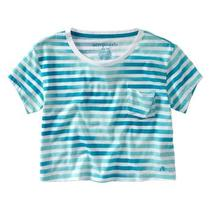 Aeropostale Women's Stripe Cropped Pocket T-Shirt Photo