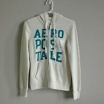 Aeropostale Women's White Graphic Full Zip Long Sleeve Hoodie Sweater S Nwot Photo