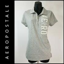 Aeropostale Women Short Sleeve Gray Polo Shirt Size Large L Logo Front Brand New Photo